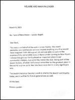 Letter from Helaine and Marvin Lender